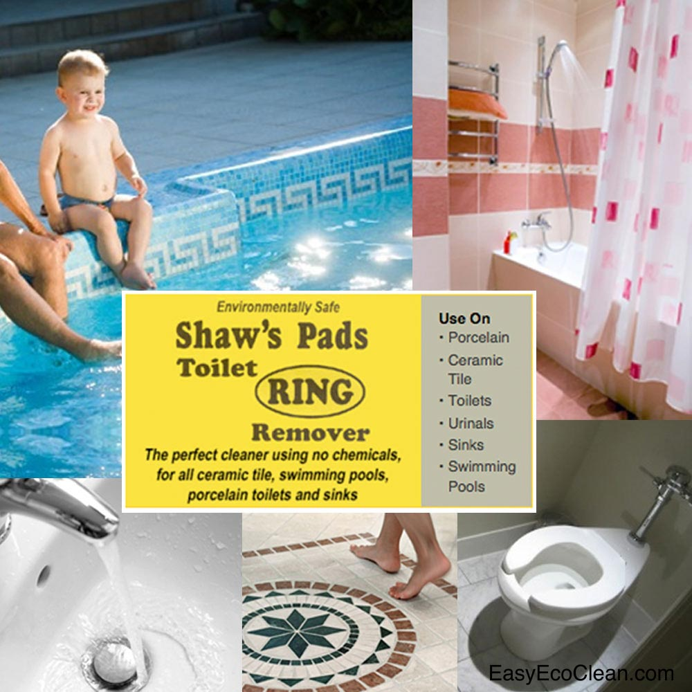 Shaws Pads can be used on porcelain toilets, urinals, and sinks; ceramic tile; swimming pools