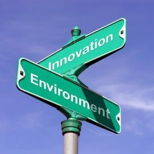 "Signpost ""Innovation"" ""Environment"" - Trademark for Advanced Cleaning Products LLC - Innovative cleaning products that safeguard our environment"
