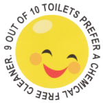 Shaws Pads Smiley caricature stating 9 out of 10 toilets prefer a chemical free cleaner