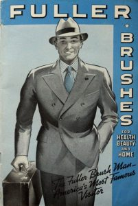 Fuller Brush catalogue front cover with picture of man in suit carrying briefcase