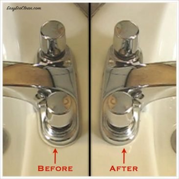 Pictures of before and after results of using a Shaws Pad around sink faucet