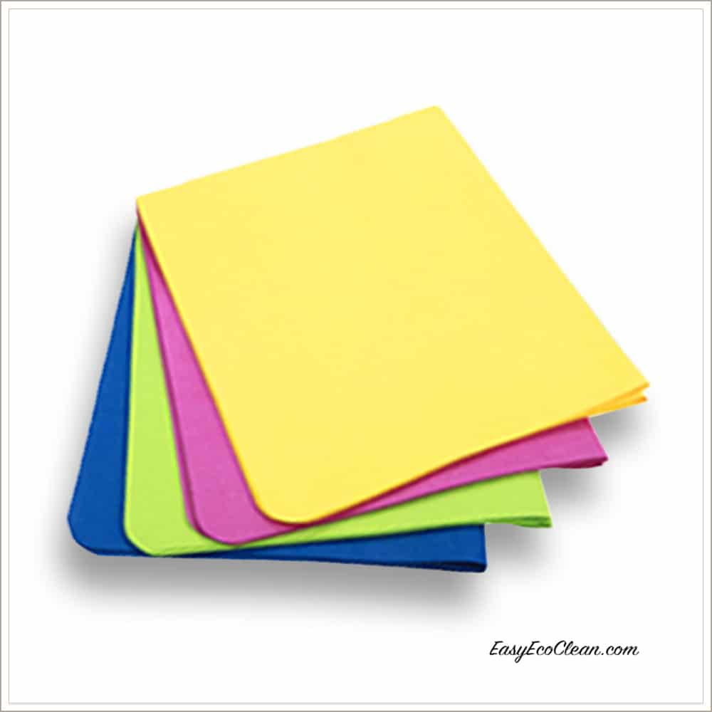 Ultimate Cloth in yellow, fuchsia, lime green, blue-color coded to manage cleaning tasks