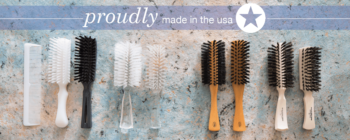 Line Up of Hair Brushes manufactured by Fuller Brush emphasizing Made in America