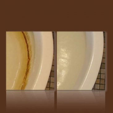 Before and After cleaning results in toilet with Shaws Pad Toilet Ring Remover