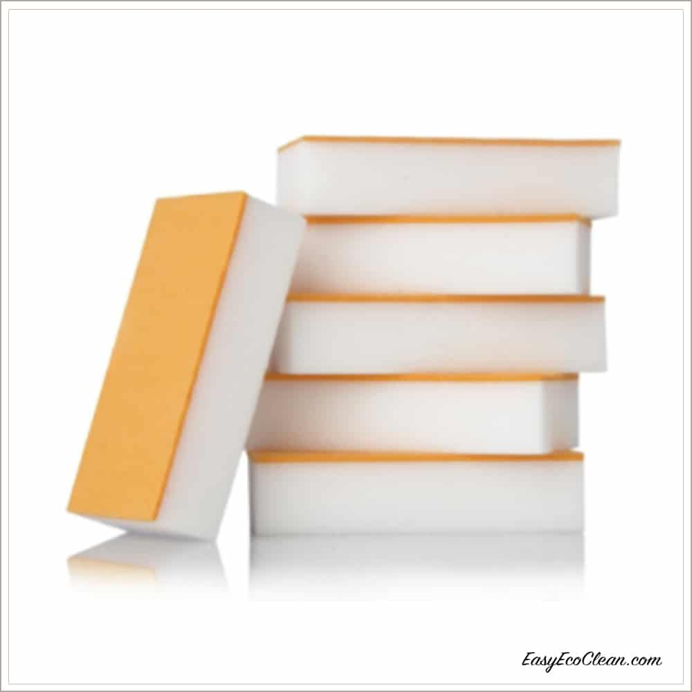 Stack of five Easy Eco Eraser sponges with one on side