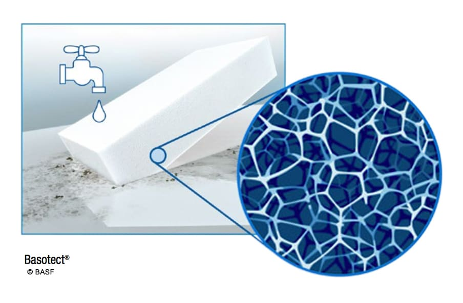 Artists rendering of melamine foam sponge with close-up of sturcture