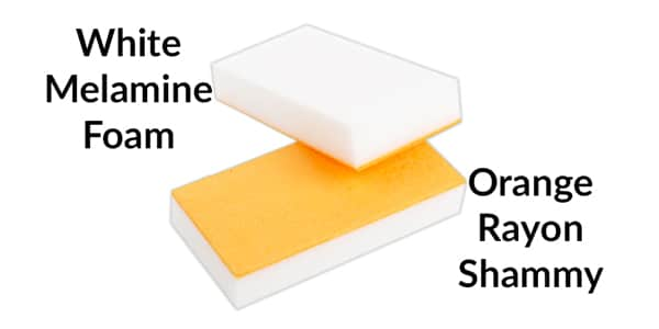 The two components of the Easy Eco Eraser sponge-melamine foam and rayon shammy