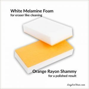 White Melamine Foam and Orange Rayon Shammy are joined together to make the Easy Eco Eraser