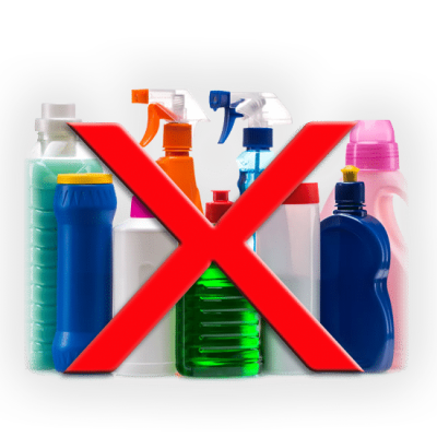 Big Red X over cleaning products indicating that their use should be eliminated.