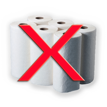 Six rolls of paper towels with big X over image indicating the need to eliminate paper towel usage